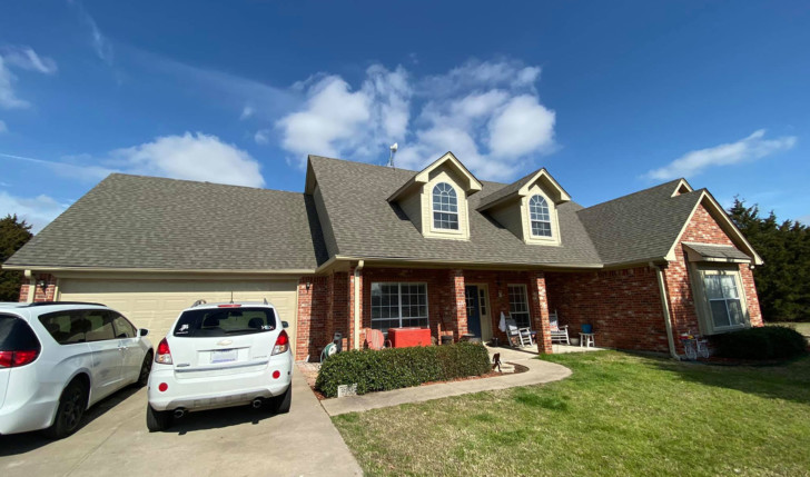 New roof and gutters in Caddo Mills, Northeast Texas.
